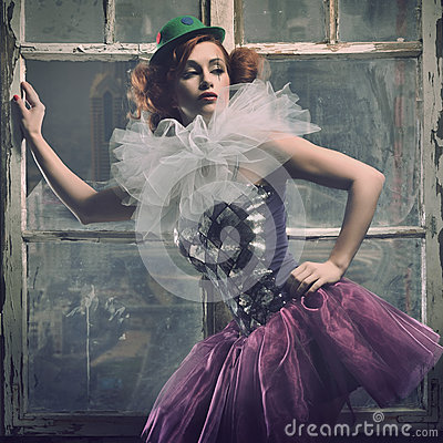 Free Sexy Pierrot Woman Behind The Window Stock Photos - 26141773