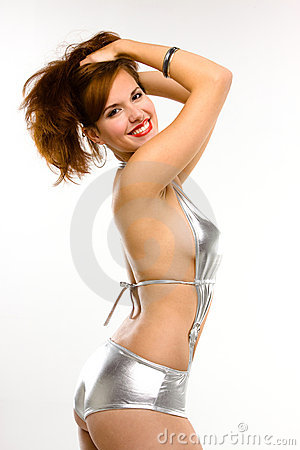 Sexy pin-up girl smiling and posing
