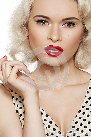 Sexy pin-up, retro make-up. Fashion blond model