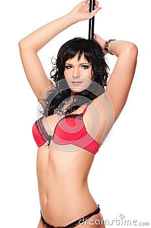 Sexy pole dancer woman