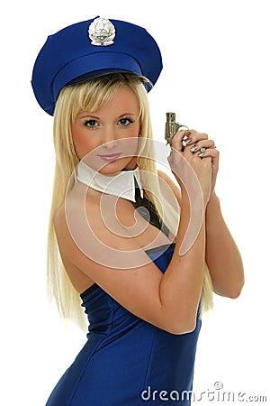 Sexy police girl holding gun
