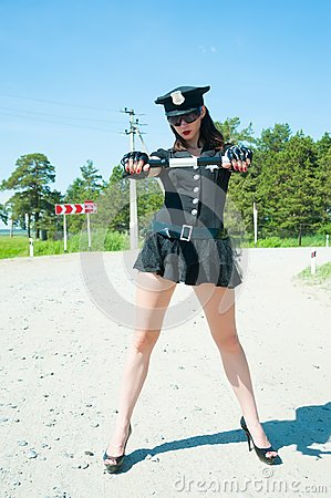 Sexy police woman on road