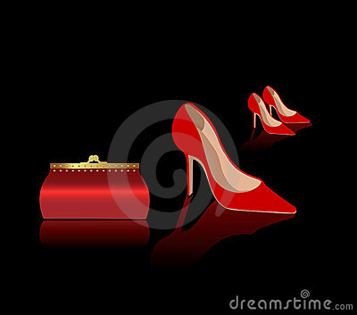Sexy red shoes and bag