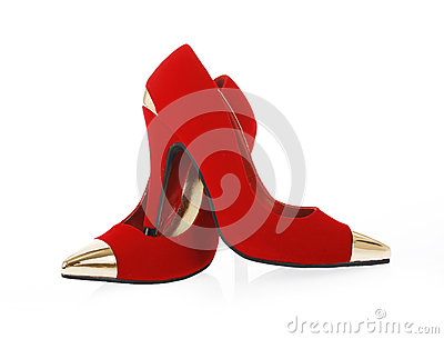 Sexy red shoes isolated on white