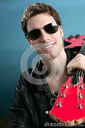 rock man sunglasses leather  jacket