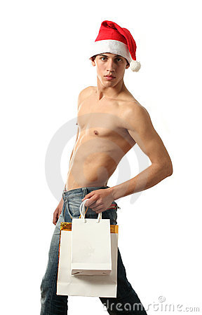 Sexy Santa Claus with Copy Space Shopping Bags