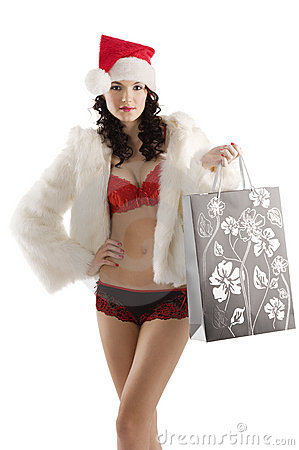 Sexy santa claus shopping bag