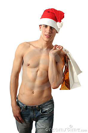 Sexy Santa Claus with Shopping Bags