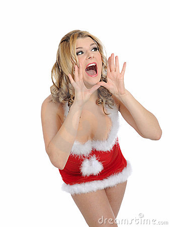 Sexy santa clause woman in party christmas clothes