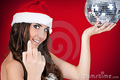 Sexy santa girl inviting to party