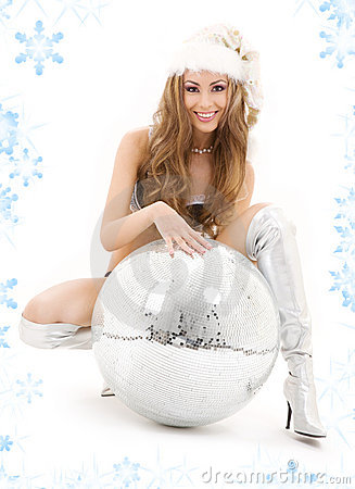 Sexy santa helper with big disco ball