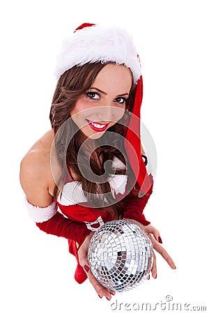 Free Sexy Santa Holding A Disco Ball Royalty Free Stock Image - 22086006