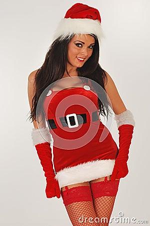 Sexy santa in mini skirt