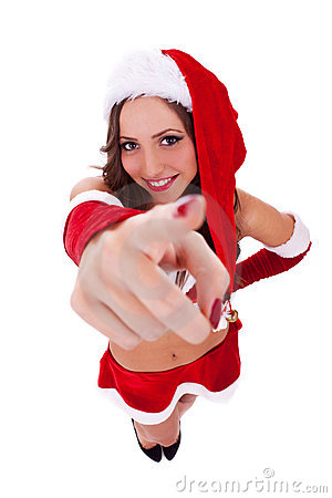 Sexy santa pointing to you