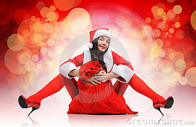 Sexy santa red girl with a bag