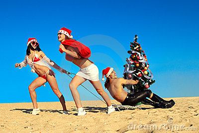 Sexy Santas  Pulling Santa At The Beach Stock Photos - Image: 21393993