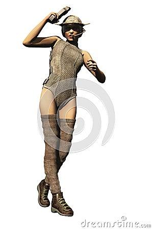 Sexy scifi female bounty hunter