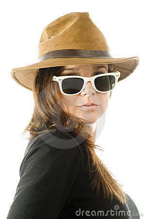 Sexy seductive woman with hat and sunglasses