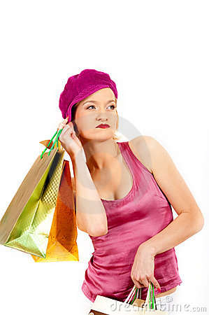 Sexy shopping woman with lots of multi-colored bag
