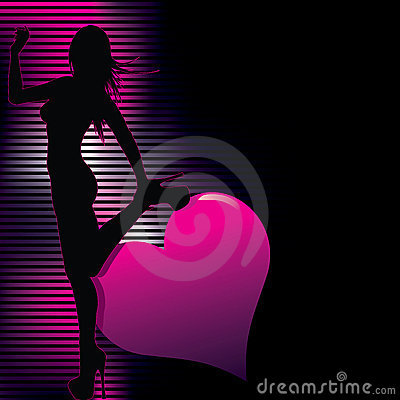 Sexy  silhouette with abstract background