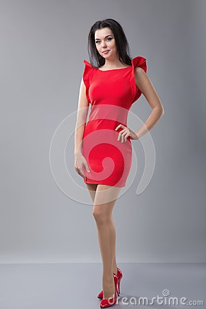 Free Sexy Slim Woman In Red Dress Stock Photography - 105761992