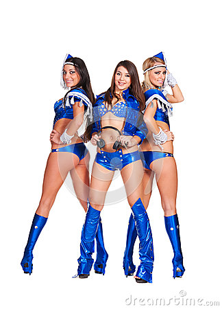 Sexy smiley girls in blue stage costume