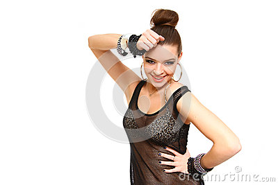 Sexy smiling young woman touching her head with hands isolated o