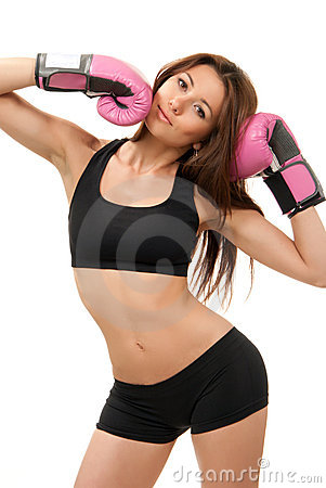 Free Sexy Sport Boxing Woman In Pink Box Gloves Royalty Free Stock Images - 19078369