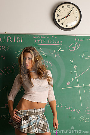 Sexy Student And Chalk Board