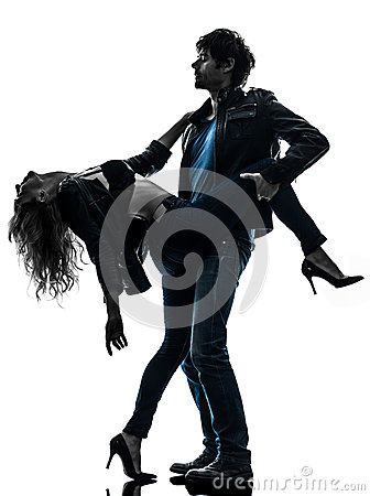 Sexy stylish couple lovers silhouette