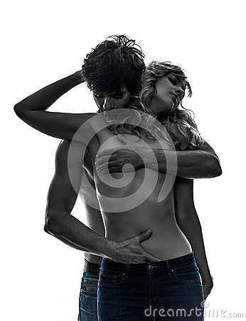 Free Sexy Stylish Couple Lovers Topless Lovers Silhouette Stock Image - 33280851