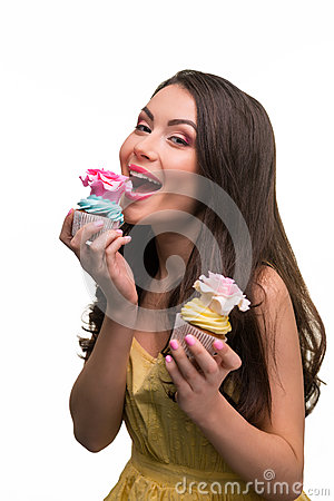 Free Sexy Sweet Tooth Eats Cupcake Royalty Free Stock Image - 71717466