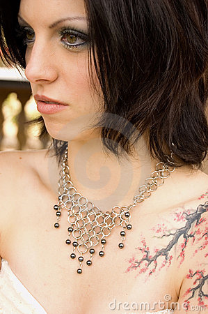 Sexy Tattoo Woman In Bridal Dress Stock Photography - Image: 12967382