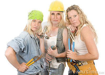 Sexy team contractor construction ladies