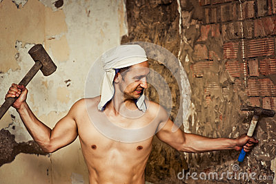 Sexy topless male construction worker