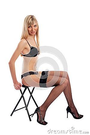 Sexy underwear model undressing
