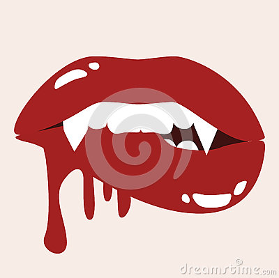 Sexy Vampire Biting Lips With Blood Vector Illustration