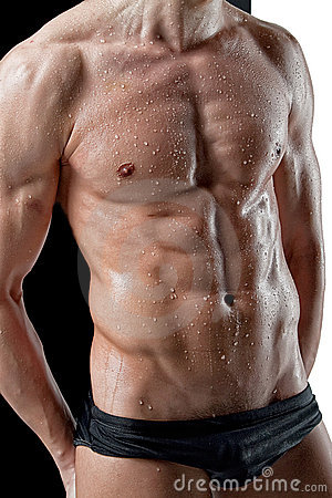 Sexy wet muscle man body