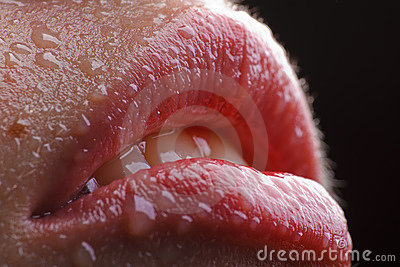 Sexy Wet Red Lips Stock Images - Image: 17455414