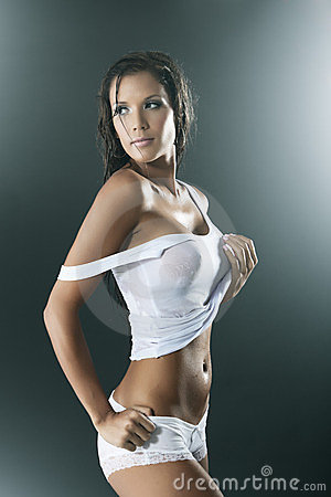 Sexy  wet woman wearing white tank top and panties