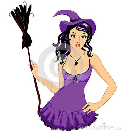 Sexy witch girl with broom