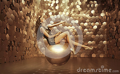 Sexy woman on the big ball