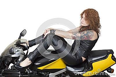 Sexy woman on a bike