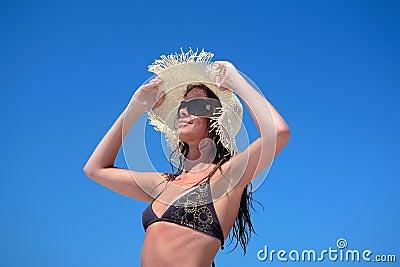 Sexy Woman in Bikini and Hat