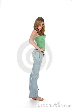 Sexy woman in blue jeans and green shirt