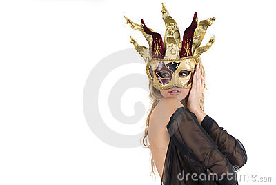 Sexy woman with carnival venice mask