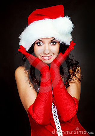 Sexy woman dressed as Santa