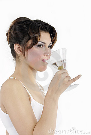 Sexy woman drinking