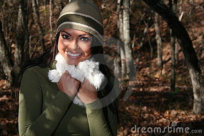 Sexy Woman In Fall fashion Outdoors