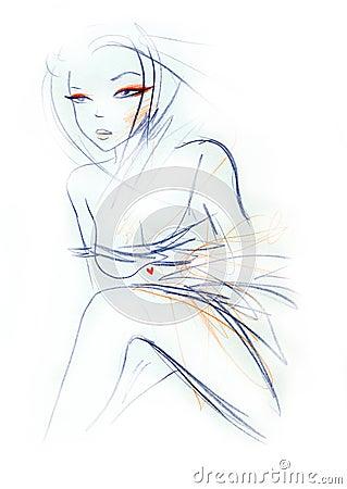 Sexy Woman Fashion Sketch
